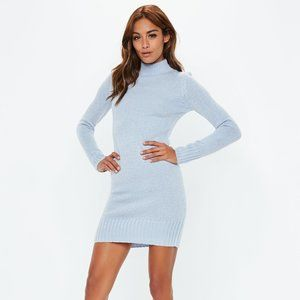 NWT Misguided Blue Turtle Neck Sweater Dress S